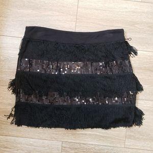 Forever 21 Black Fringe Sequin Mini Skirt Large
